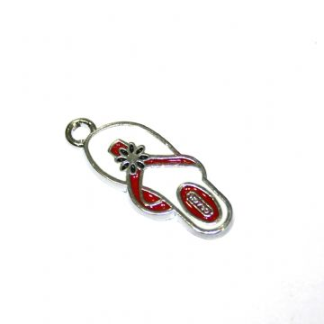 1pce x 24*10mm Rhodium plated red flip flop with black daisy enamel charm - SD03 - CHE1148